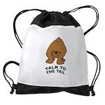 talk-tail-bear-2 Drawstring Bag