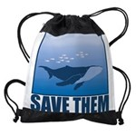FIN-whale-save-them Drawstring Bag
