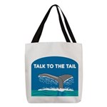 FIN-whale-talk-tail Polyester Tote Bag
