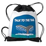 FIN-whale-talk-tail Drawstring Bag