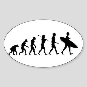 Human Surfer Evolution Sticker (Oval)