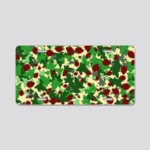 Ladybugs and Ivy on yellow Aluminum License Plate