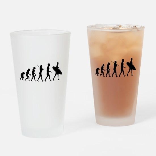 Human Surfer Evolution Drinking Glass