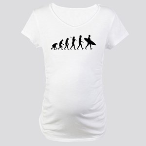Human Surfer Evolution Maternity T-Shirt