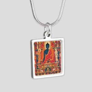 Blue Buddha Silver Square Necklace