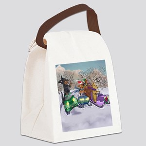 Snowmobiling Dachshunds Canvas Lunch Bag