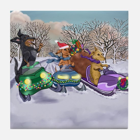 Snowmobiling Dachshunds Tile Coaster