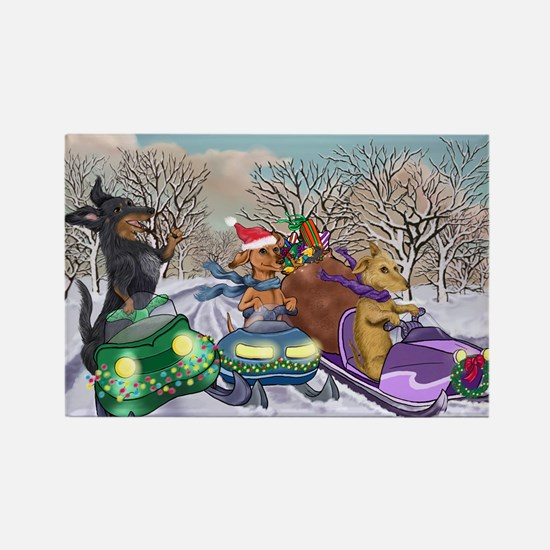 Snowmobiling Dachshunds Rectangle Magnet