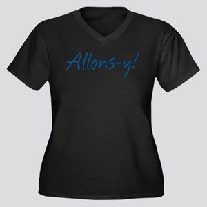 French Allons-y Women's Plus Size V-Neck Dark T-Sh