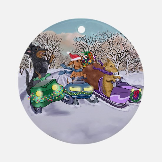 Snowmobiling Dachshunds Ornament (Round)