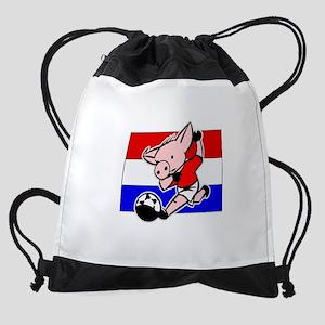 croatia-soccer-pig Drawstring Bag