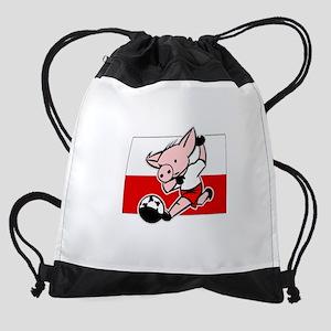 poland-soccer-pig Drawstring Bag