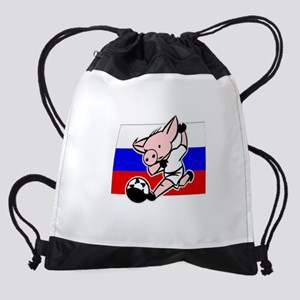 russia-soccer-pig Drawstring Bag