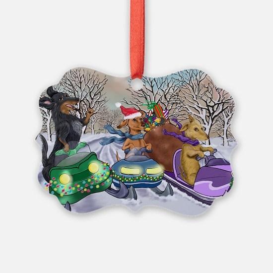 Snowmobiling Dachshunds Ornament