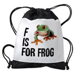 f-is-for-frog-10x10 Drawstring Bag