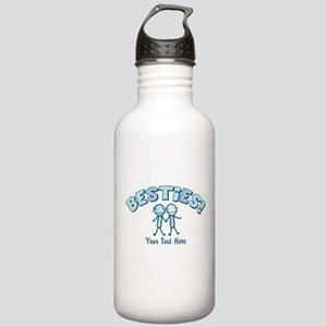 CUSTOM TEXT Besties (blue) Stainless Water Bottle