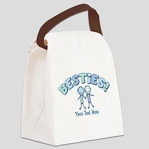 CUSTOM TEXT Besties (blue) Canvas Lunch Bag