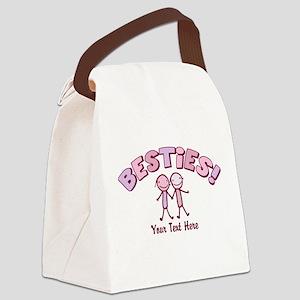CUSTOM TEXT Besties (pink) Canvas Lunch Bag