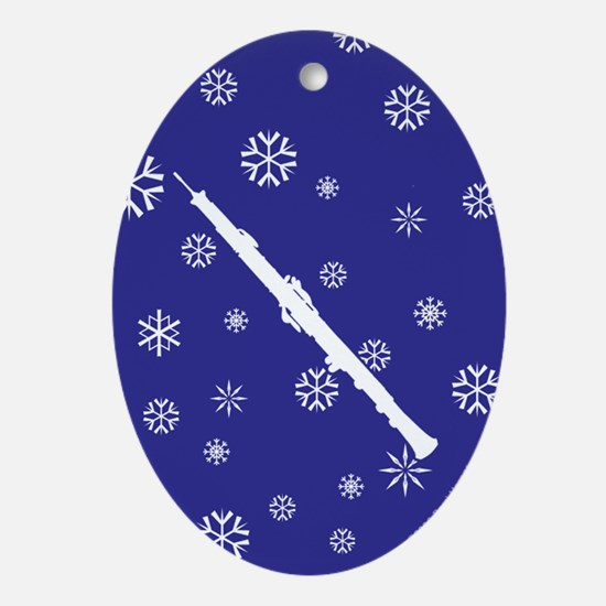 Oboe Snowflake Ornament (Dk Blue Oval)