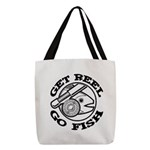 FIN-get-reel-go-fish-black Polyester Tote Bag