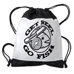 FIN-get-reel-go-fish-black Drawstring Bag