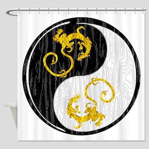 Golden Dragon Yin Yang Shower Curtain