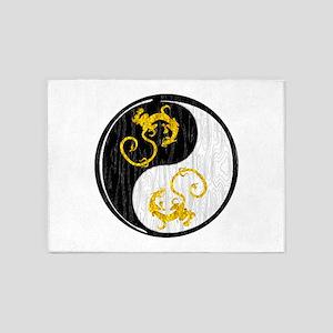 Golden Dragon Yin Yang 5'x7'Area Rug