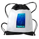 tropical-fish-CROP-text Drawstring Bag