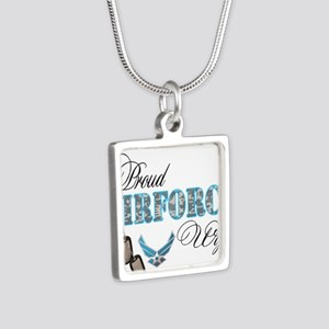 Proud Air Force Wife Silver Square Necklace