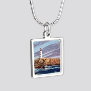 Peggy's Cove Lighthouse Silver Square Necklace