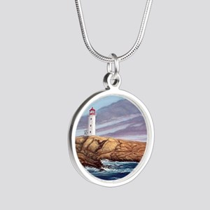 Peggy's Cove Lighthouse Silver Round Necklace