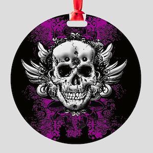 Grunge Skull Round Ornament