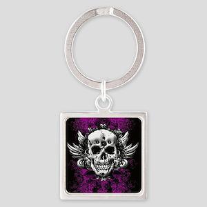 Grunge Skull Square Keychain