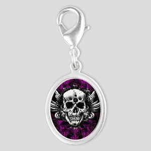 Grunge Skull Silver Oval Charm