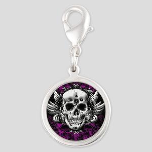 Grunge Skull Silver Round Charm