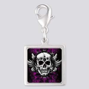 Grunge Skull Silver Square Charm