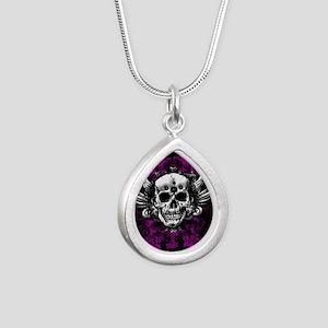 Grunge Skull Silver Teardrop Necklace