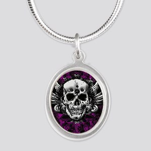 Grunge Skull Silver Oval Necklace