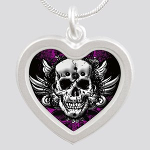 Grunge Skull Silver Heart Necklace