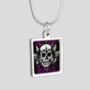 Grunge Skull Silver Square Necklace