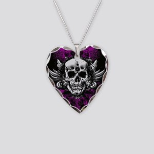 Grunge Skull Necklace Heart Charm
