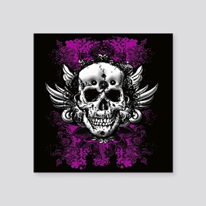"Grunge Skull Square Sticker 3"" x 3"""