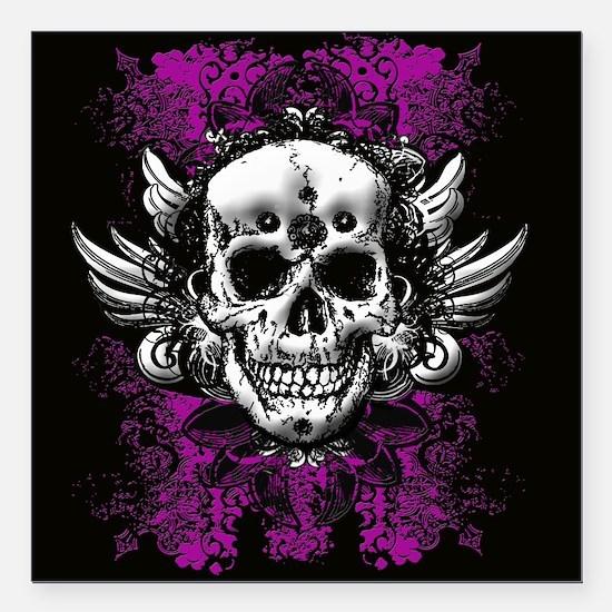 "Grunge Skull Square Car Magnet 3"" x 3"""