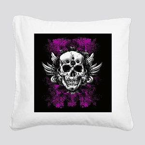 Grunge Skull Square Canvas Pillow