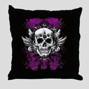 Grunge Skull Throw Pillow