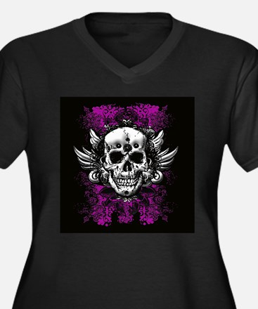 Grunge Skull Women's Plus Size V-Neck Dark T-Shirt