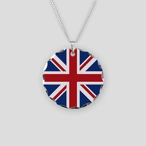 United Kingdom Union Jack Fla Necklace Circle Char