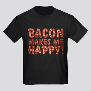 Bacon Makes Me Happy Kids Dark T-Shirt