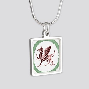 Celtic Knots And Red Dragon Silver Square Necklace