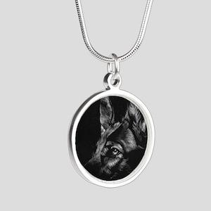 Dramatic German Shepherd Silver Round Necklace